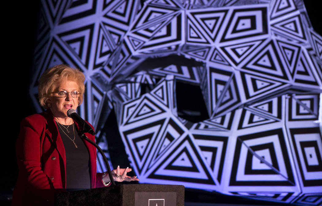 Las Vegas Mayor Carolyn Goodman speaks during a groundbreaking event for AREA15 in Las Vegas on Thursday, Jan. 18, 2018. AREA15 is a development project led by a joint venture between real estate  ...