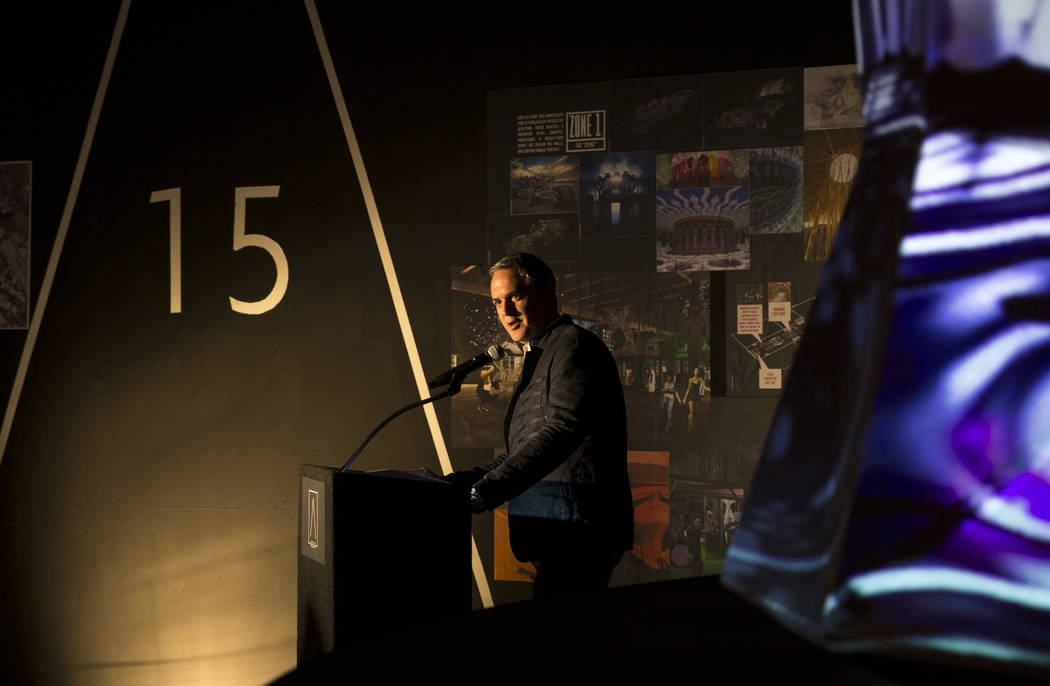 Beneville Studios founder and CEO Michael Beneville speaks during a groundbreaking event for AREA15 in Las Vegas on Thursday, Jan. 18, 2018. AREA15 is a development project led by a joint venture  ...