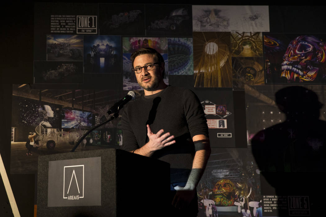 Vince Kadlubek, co-founder and CEO of Meow Wolf, during a groundbreaking event for AREA15 in Las Vegas on Thursday, Jan. 18, 2018. AREA15 is a development project led by a joint venture between re ...