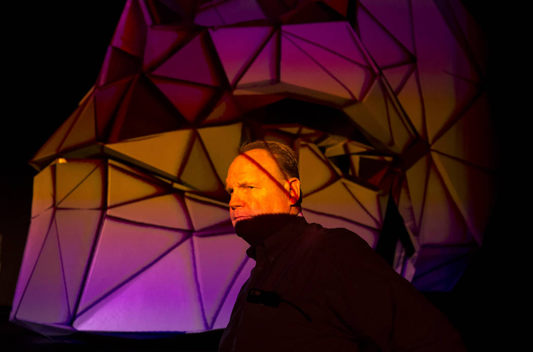 Leo Biedermann stands in front of Shogyo Mujo's skull, a 3-D projection art piece executed by Bart Kresa, during groundbreaking event for AREA15 in Las Vegas on Thursday, Jan. 18, 2018. AREA15 is  ...