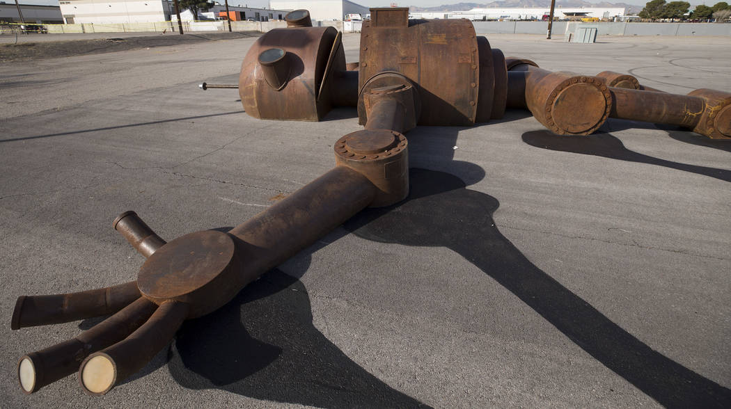 The Mechan 9 art installation on display during a groundbreaking event for AREA15 in Las Vegas on Thursday, Jan. 18, 2018. AREA15 is a development project led by a joint venture between real estat ...