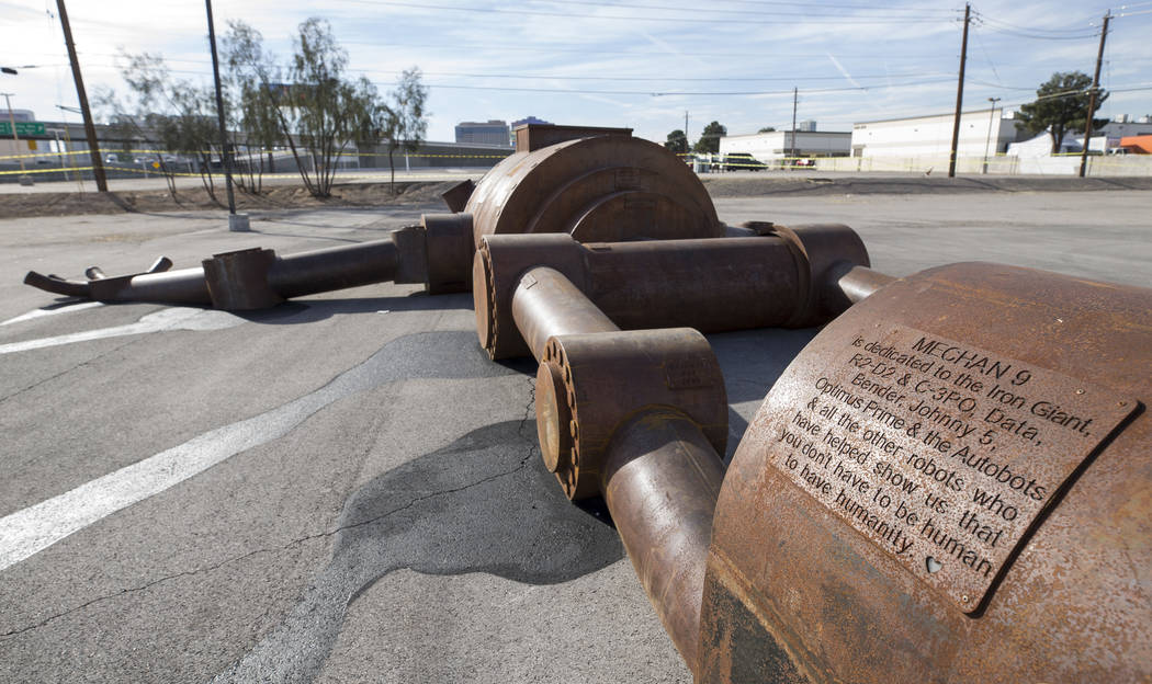 The Mechan 9 art installation during a groundbreaking event for AREA15 in Las Vegas on Thursday, Jan. 18, 2018. AREA15 is a development project led by a joint venture between real estate developme ...