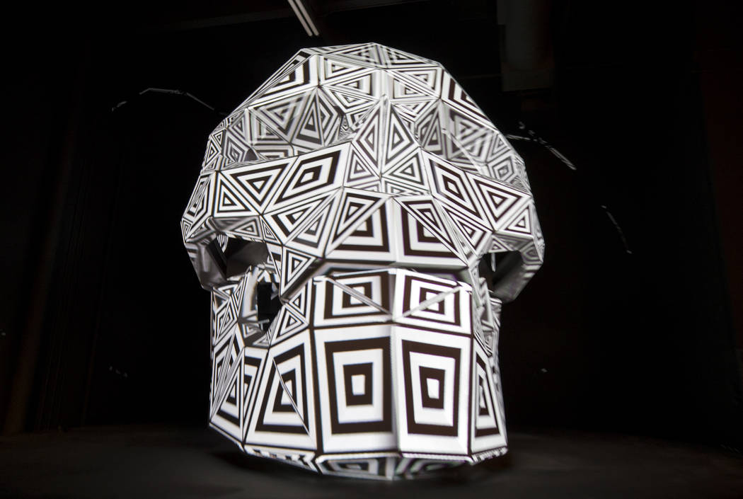 Shogyo Mujo's skull, a 3-D projection art piece executed by Bart Kresa, on display during a groundbreaking event for AREA15 in Las Vegas on Thursday, Jan. 18, 2018. AREA15 is a development project ...