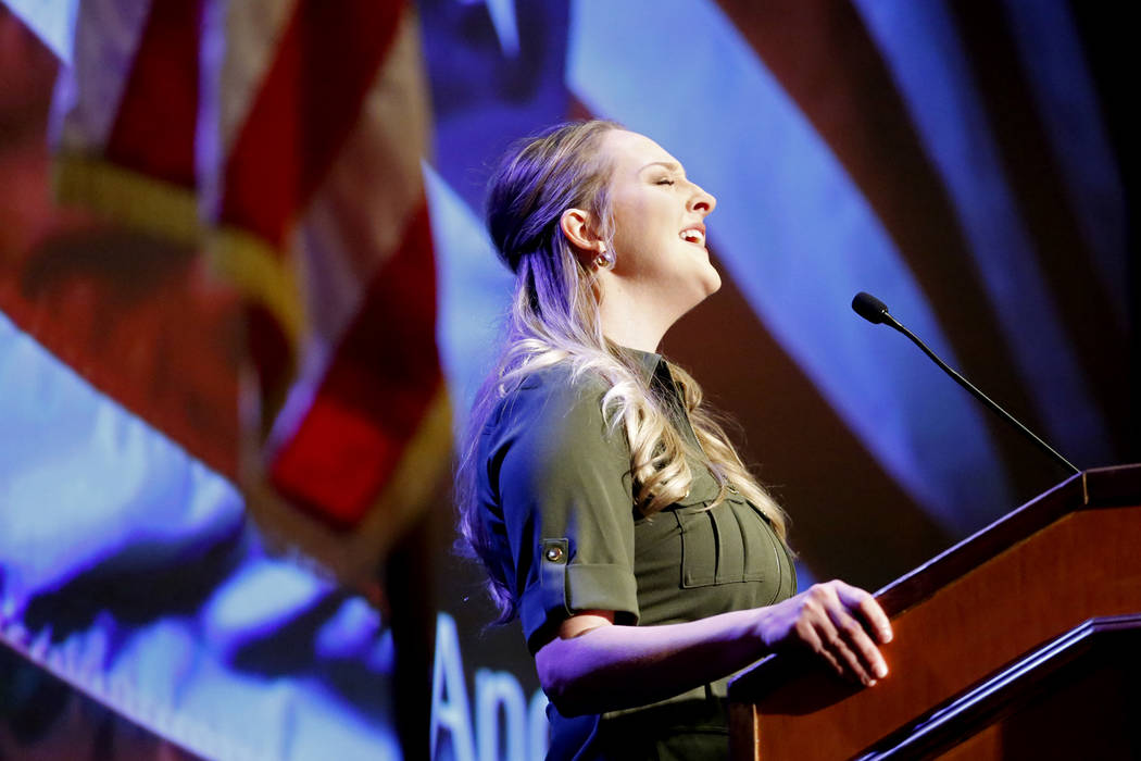 A woman sings the national anthem before North Las Vegas Mayor John Lee deliver his State of the City address on Thursday at the Texas Station in Las Vegas, Jan. 18, 2018. Andrea Cornejo Las Vegas ...