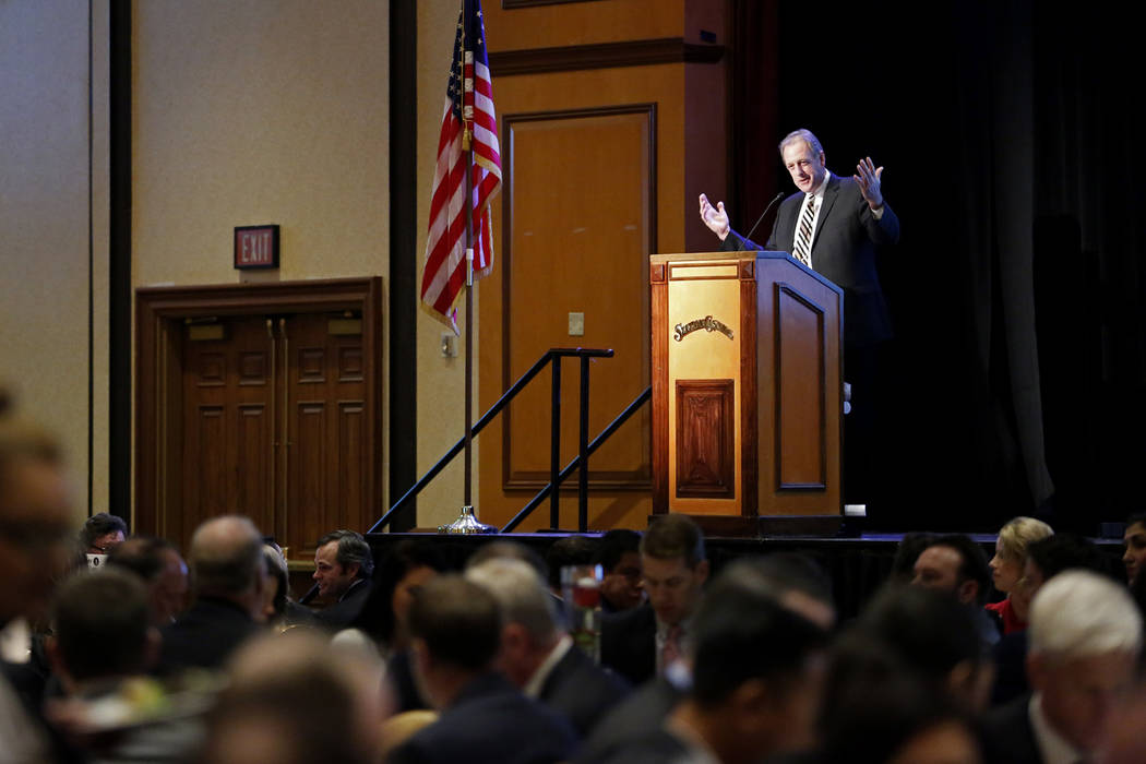 North Las Vegas Mayor John Lee delivers his State of the City address on Thursday at the Texas Station in Las Vegas, Jan. 18, 2018. Andrea Cornejo Las Vegas Review-Journal @DreaCornejo