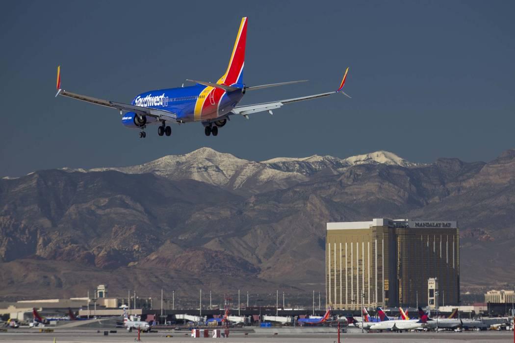 A Southwest Airlines flight descends as it approaches McCarran International Airport in Las Vegas on Monday, Jan. 22, 2018. Richard Brian Las Vegas Review-Journal @vegasphotograph