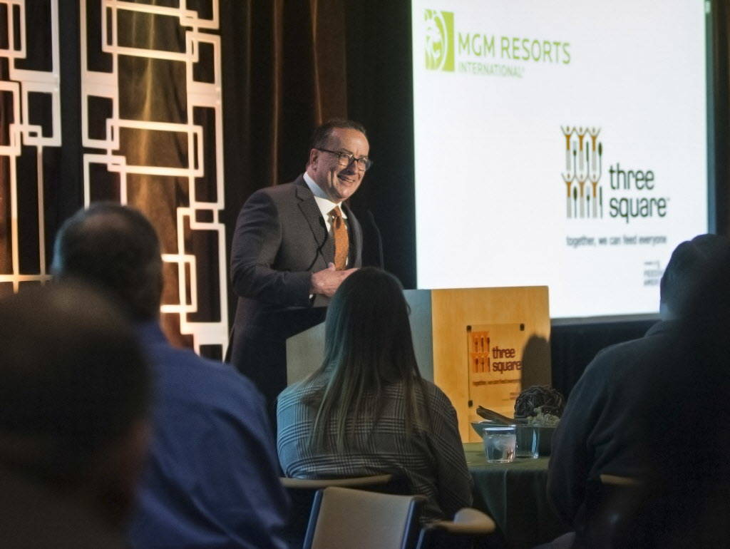 Three Square president and CEO Brian Burton speaks during a media event to announce the food bank's partnership with MGM Resorts International on Wednesday, January 17, 2018, at Three Square, in L ...