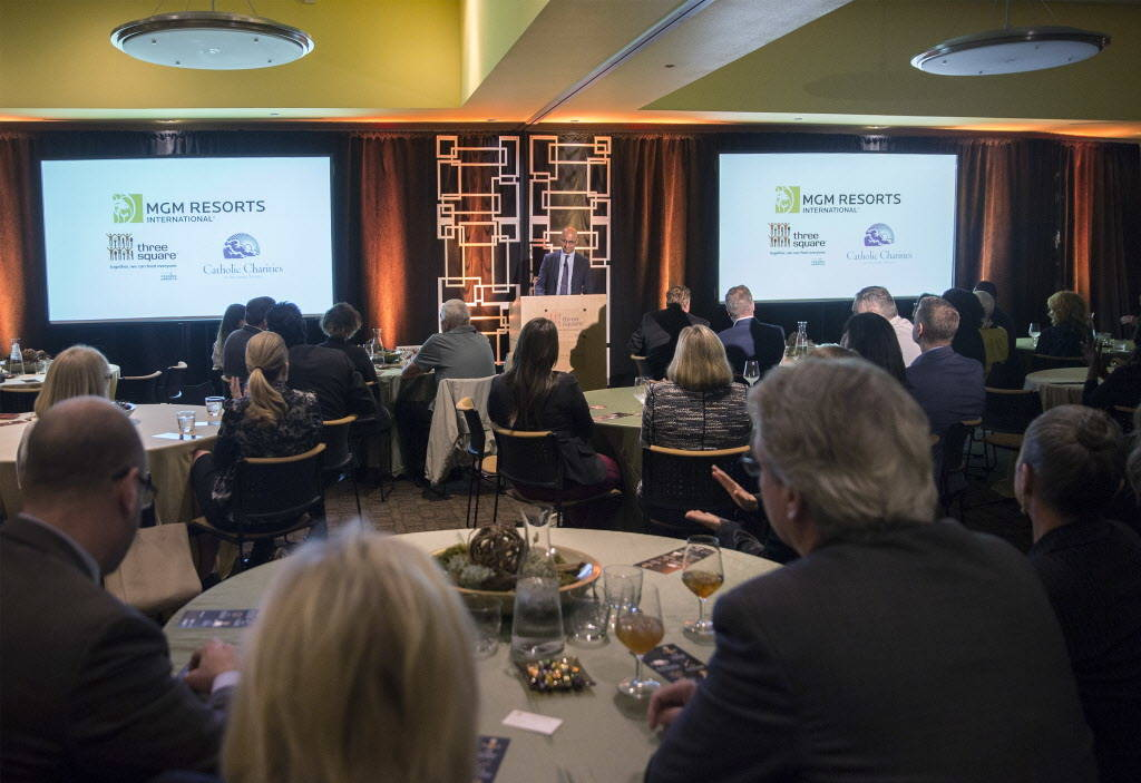 Yalmaz Siddiqui, vice president of corporate sustainability with MGM Resorts International, speaks during a media event to announce his companies partnership with Three Square on Wednesday, Januar ...