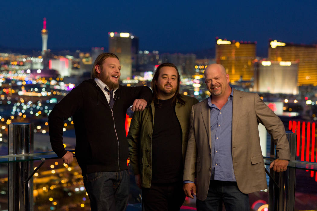 """From left, Corey Harrison, Austin """"Chumlee"""" Russell and Rick Harrison are celebrating the 500th episode of """"Pawn Stars,"""" which will air at 10 p.m. Monday on History. (Joey L./History)"""