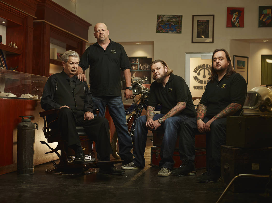 """From left, Richard Harrison, Rick Harrison, Corey Harrison and Austin """"Chumlee"""" Russell are celebrating the 500th episode of """"Pawn Stars,"""" which will air at 10 p.m. Monday on History. (Joey L./His ..."""