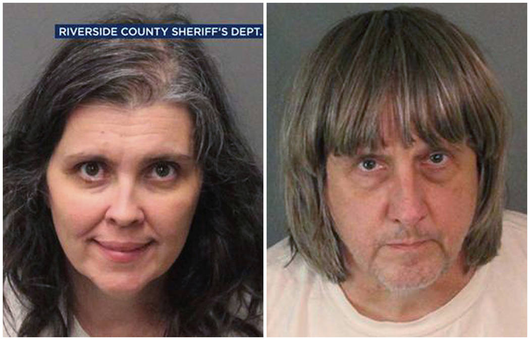 These Sunday, Jan. 14, 2018, photos provided by the Riverside County Sheriff's Department show Louise Anna Turpin, left, and David Allen Turpin. (Riverside County Sheriff's Department via AP)