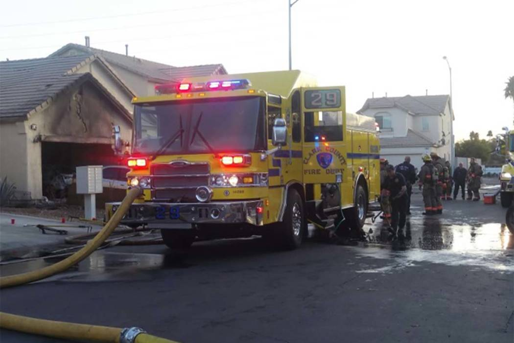 The Clark County Fire Department responded to a fire on Thursday at a house at 2332 Heavenly Lights Ave. (Max Michor/Las Vegas Review-Journal)