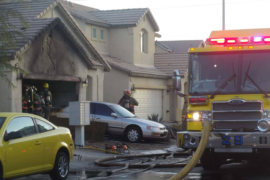 The Clark County Fire Department responded to a fire on Thursday at a house at 2332 Heavenly Lights Ave.,  Thursday, Jan. 18, 2018. (Max Michor/Las Vegas Review-Journal)