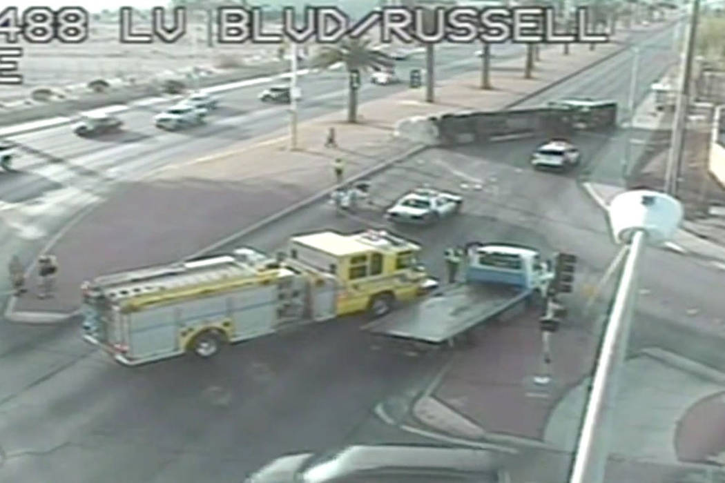 A semi overturned on Las Vegas Boulevard South at Russell Road. (Screenshot/RTC Fast Cameras)
