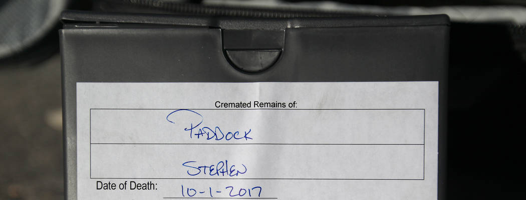 The cremated remains of Las Vegas gunman Stephen Paddock outside the Clark County Coroner's office in Las Vegas Thursday, Jan. 18, 2018. Paddock's brother, Eric Paddock, flew to Las Vegas for just ...