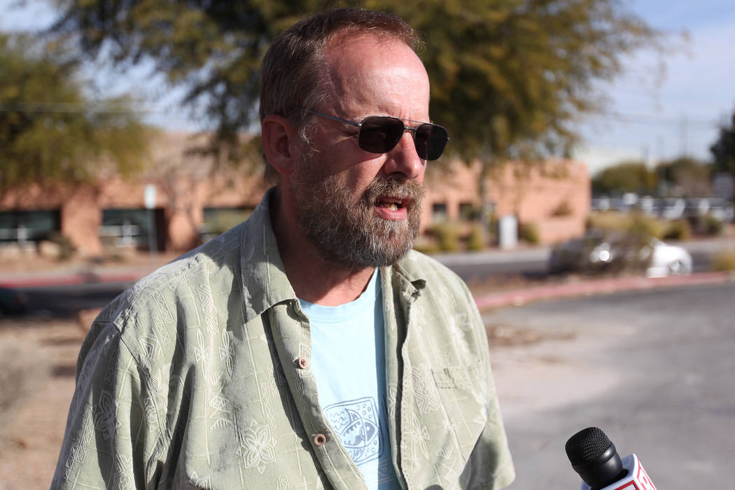 Eric Paddock, brother of Las Vegas gunman Stephen Paddock, talks to a reporter after picking up the cremated remains of his brother at the Clark County Coroner's office in Las Vegas Thursday, Jan. ...