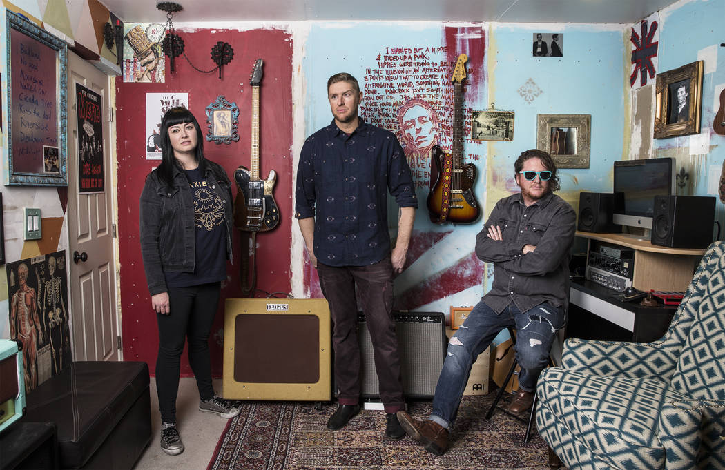 Las Vegas rock band The Dirty Hooks featuring Jenine Cali, Bobby McCall and Anthony Ratto on Friday, January 19, 2018, at the bands studio, in Las Vegas. The Dirty Hooks will start a tour with Sto ...