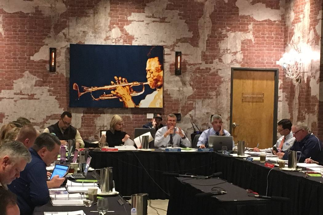 The NIAA Board of Control voted Thursday to approve the principals' proposal and eliminated the 5A classification at the Whiteney Peak Hotel in Reno, Jan. 18, 2017. Justin Emerson/Las Vegas Review ...