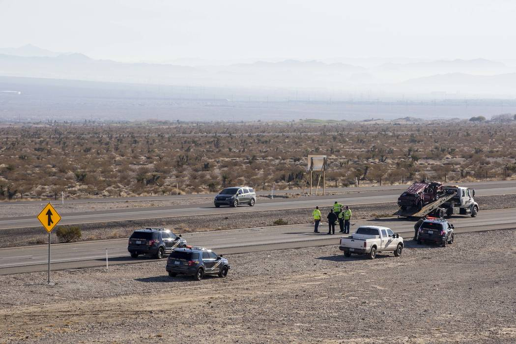The Nevada Highway Patrol investigates a fatal crash on U.S. Highway 95, near Kyle Canyon Road, north of Las Vegas, Friday, Jan. 12, 2018. (Patrick Connolly/Las Vegas Review-Journal)