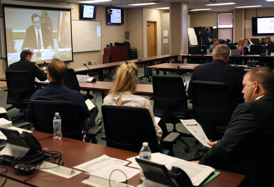 Caleb Cage, chief of the Nevada Division of Emergency Management, speaks via teleconference from Carson City during the Nevada Homeland Security Commission meeting on Monday, Jan. 29, 2018, in Las ...