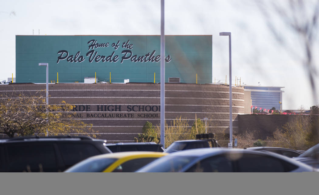 Palo Verde High School in Las Vegas on Thursday, Jan. 18, 2018. Palo Verde student Maysen Melton, 16, was indicted this week on two dozen felony counts after authorities accused him of raping at l ...