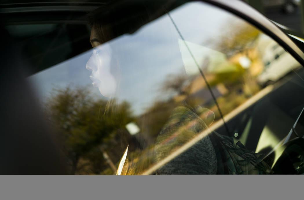 Freshman Kaitlin Tinoco talks outside Palo Verde High School on Thursday, Jan. 18, 2018, about the arrest of Palo Verde student Maysen Melton.  Chase Stevens Las Vegas Review-Journal @csstevensphoto