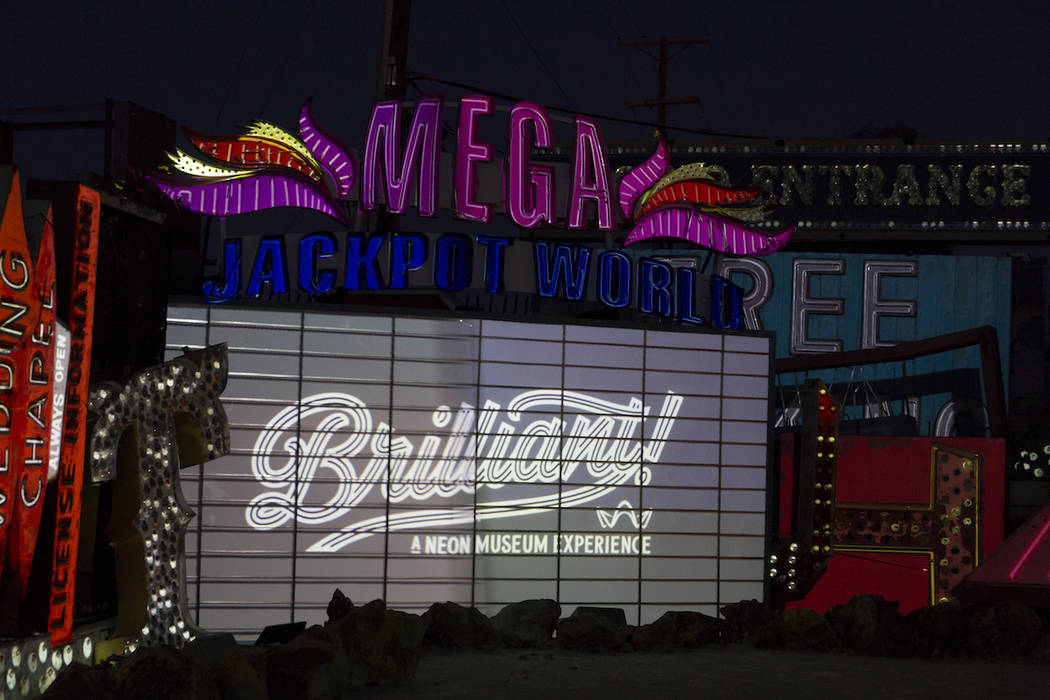"""A sign for the Neon Museum's new """"Brilliance!"""" exhibit is pictured. (Neon Museum)"""