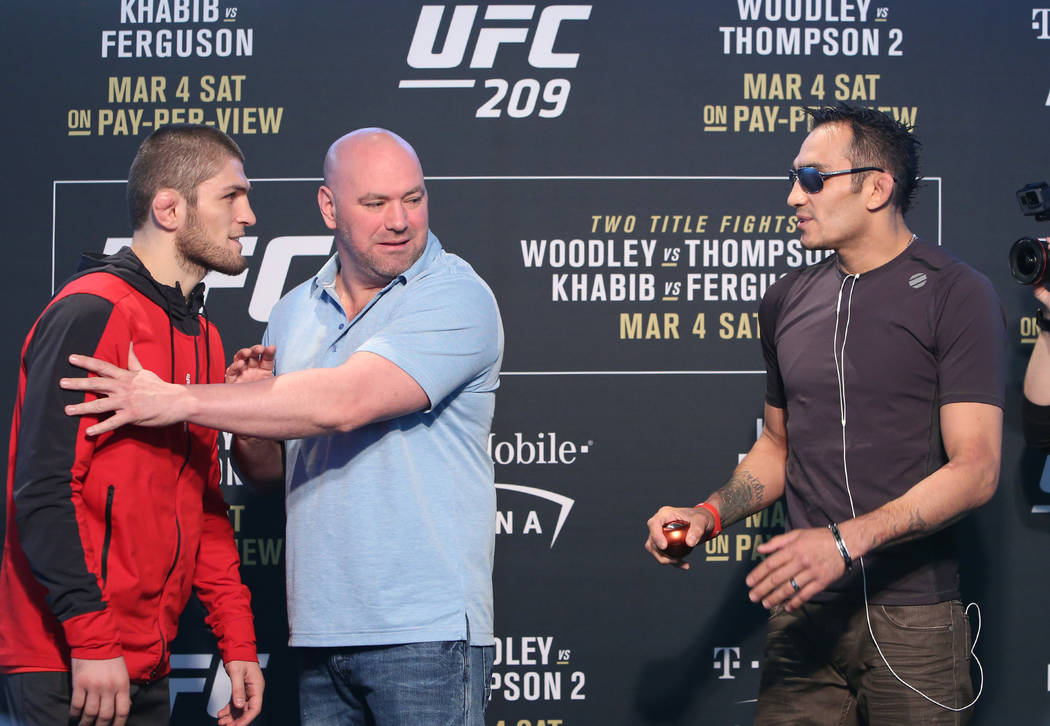 UFC lightweight Khabib Nurmagomedov, left, and Tony Ferguson exchange words during UFC 209 media day face off at the T-Mobile Arena Thursday, March 2, 2017, in Las Vegas. (Bizuayehu Tesfaye/Las Ve ...