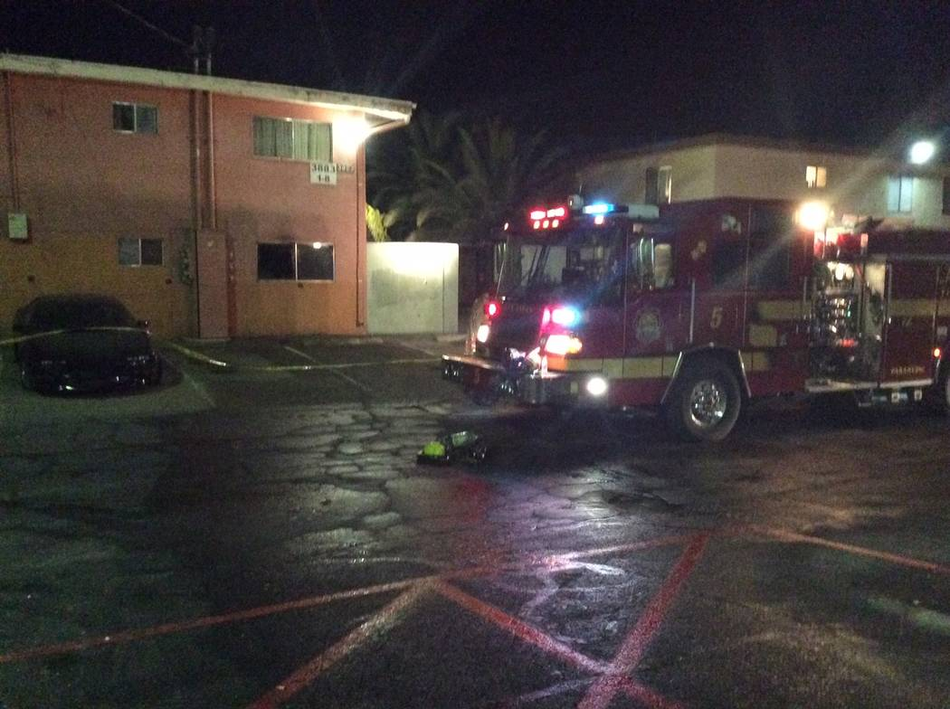 Las Vegas firefighters responded to a fire at 11:50 p.m., Friday, Dec. 29, 2018, at the Tara Vista Apartments and found an unresponsive man on the kitchen floor of a first-floor apartment unit. (L ...