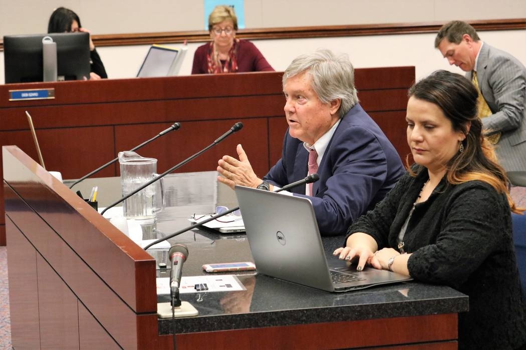 Sen. Tick Segerblom, D-Las Vegas, presents SB170, which seeks to improve Nevada's Public Records Act, before Senate Government Affairs, March 15, 2017. Holly Welborn, policy director and a lobbyis ...