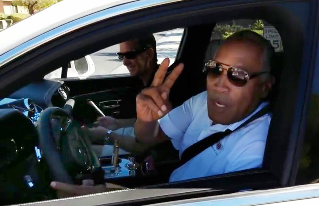 O.J. Simpson is spotted driving a white sports utility vehicle on Tuesday, Oct. 24, 2017 in Las Vegas. (Ron Kantowski/Las Vegas Review-Journal)