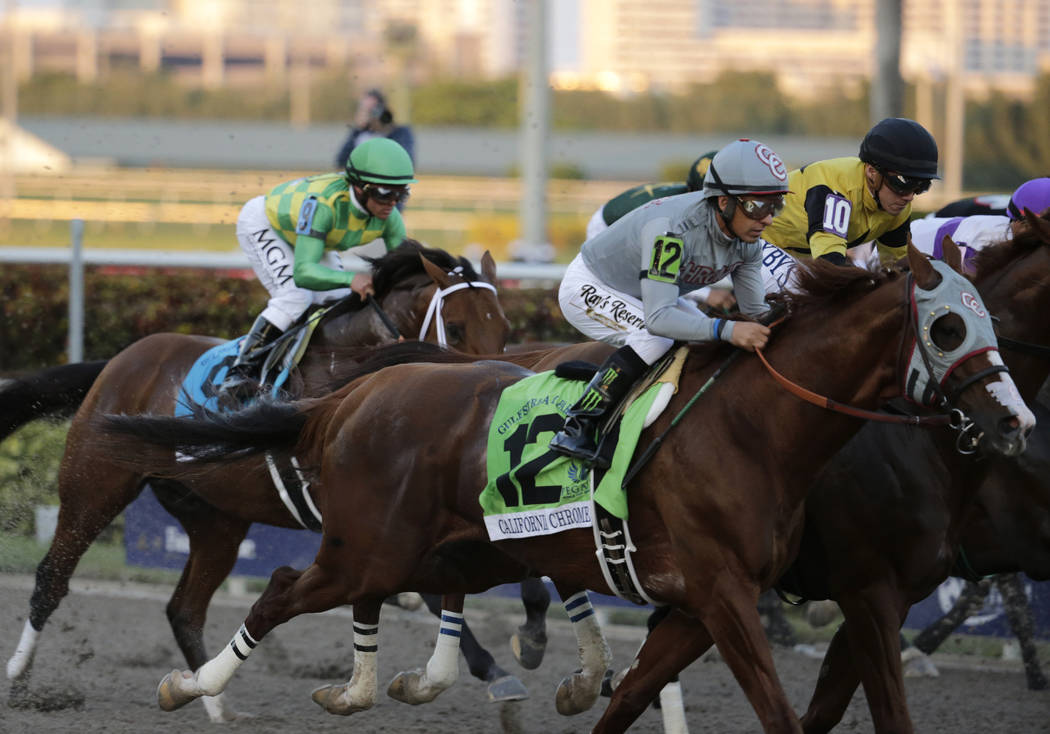Jockey Victor Espinoza rides California Chrome (12) in the inaugural running of the $12 million Pegasus World Cup horse race at Gulfstream Park, Saturday, Jan. 28, 2017, in Hallandale Beach, Fla.  ...