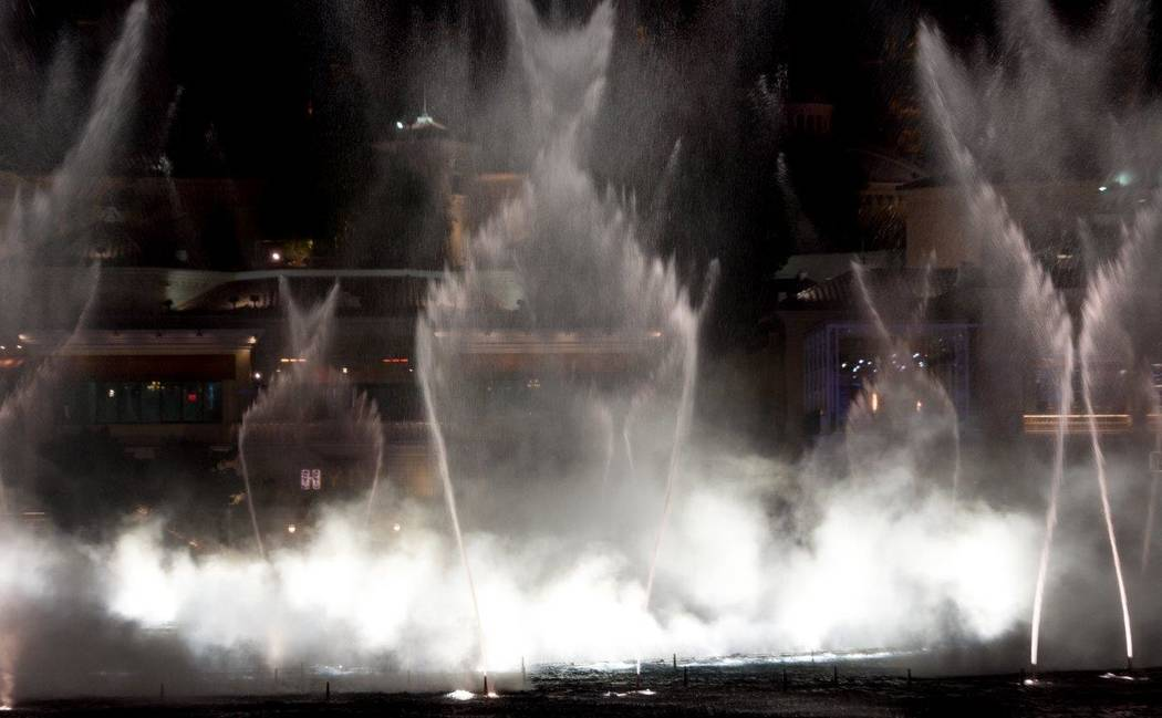 "A look at the Bellagio Fountain show as it plays Cher's ""Believe"" on Wednesday, Jan. 17, 2018. (Tom Donoghue)"