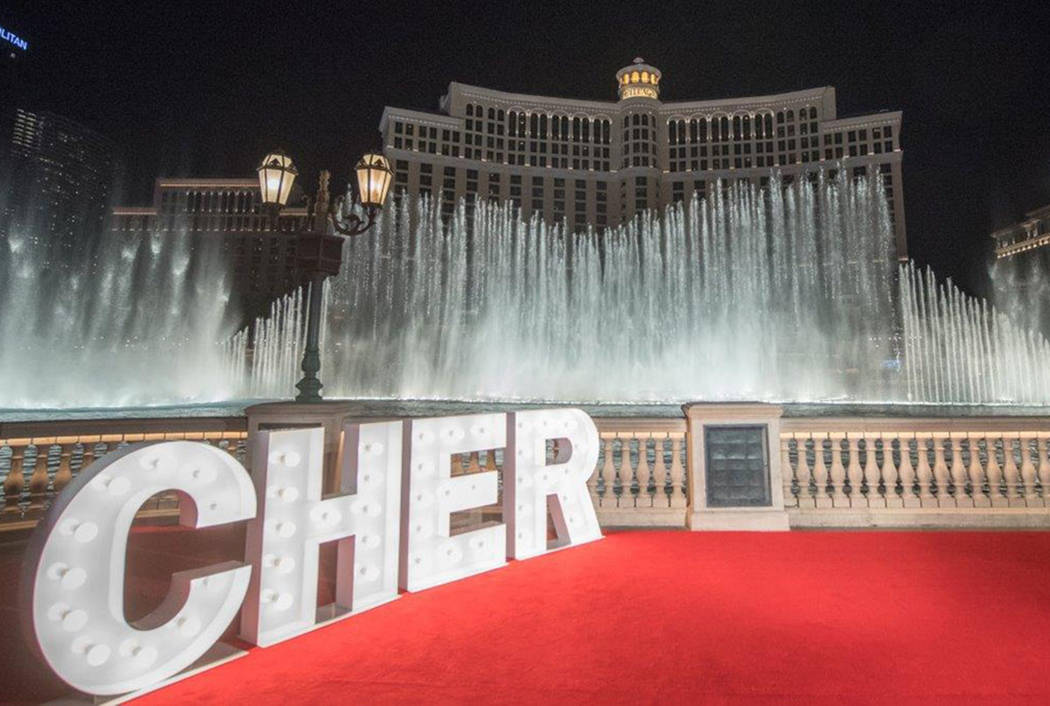 Cher wades into pool of superstars at bellagio fountains for Pool show las vegas 2018