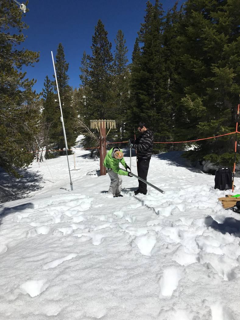 Desert Research Institute scientist Benjamin Hatchett, right, and student Shawn Roj measure snowpack at Mount Rose Ski Area near Reno in an undated photo. Siani Nau