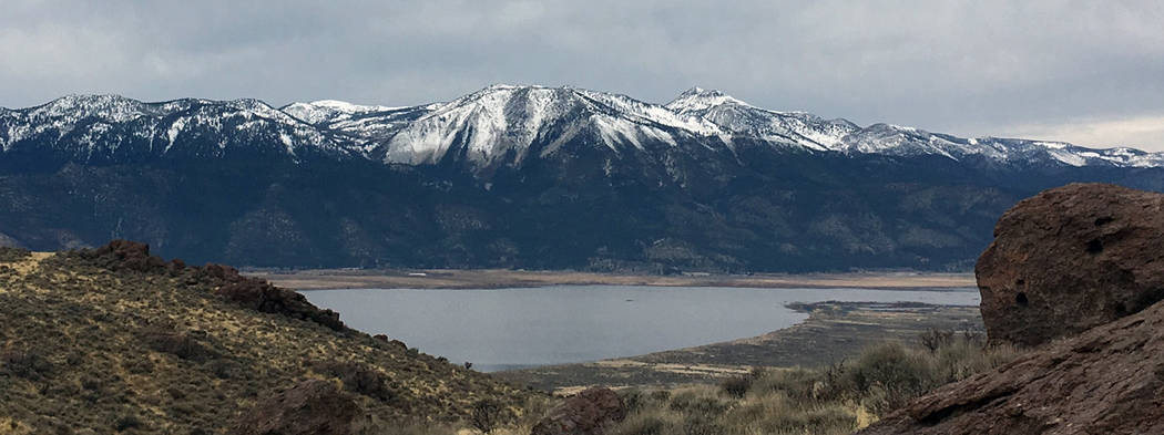 The view from the east side of Washoe Lake on Jan. 7 shows what snow drought looks on Slide Mountain and Mount Rose near Reno. Warm wet and dry periods in November and a dry period in December cre ...