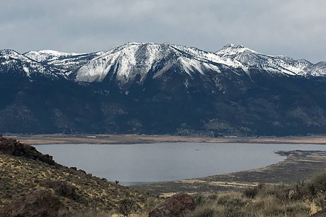 The view from the east side of Washoe Lake on Jan. 7 shows what snow drought looks on Slide Mountain and Mount Rose near Reno. Benjamin Hatchett DRI.