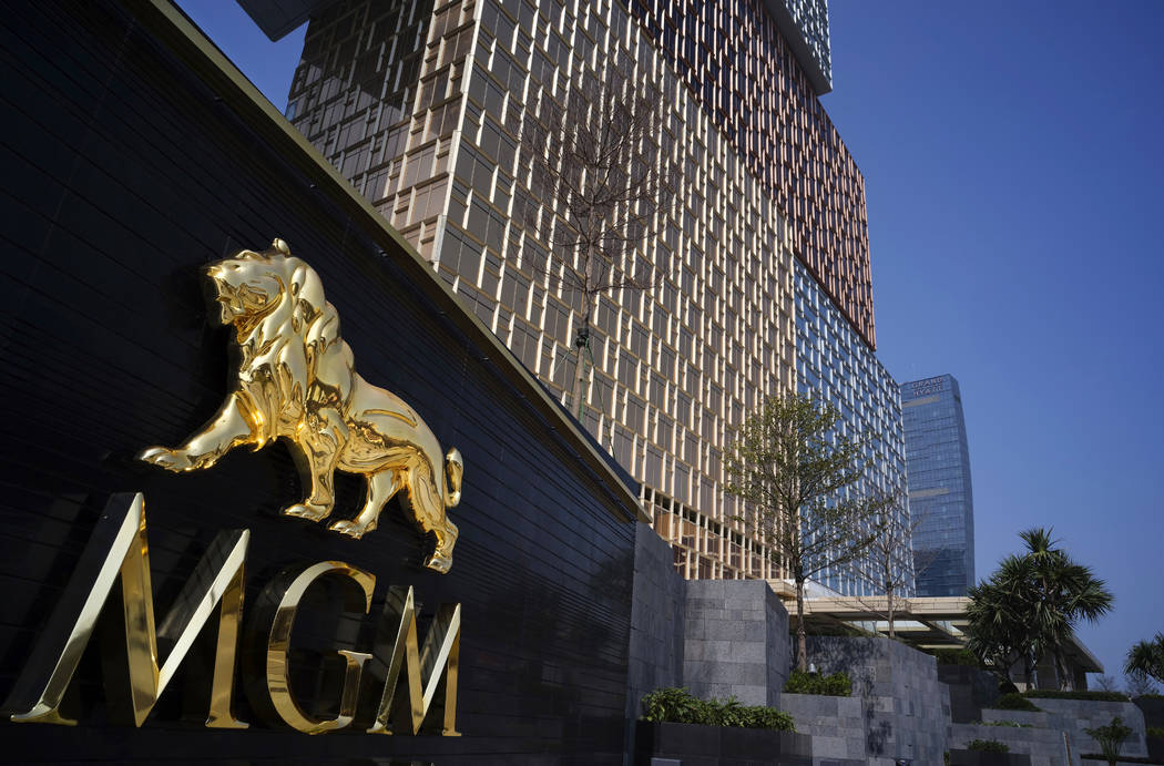 MGM Cotai Resort is seen in Macau Tuesday, Feb. 13, 2018. MGM Resorts is opening a lavish multibillion-dollar casino resort in Macau, in the latest big bet by foreign gambling companies on the sou ...