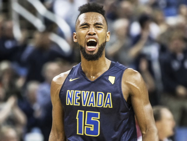 UNR's D.J. Fenner (15) celebrates after the Wolf Pack went up by 20 points in the first half over UNLV on Wednesday, Feb. 8, 2017, at the Lawlor Events Center, in Reno. (Benjamin Hager/Las Vegas R ...