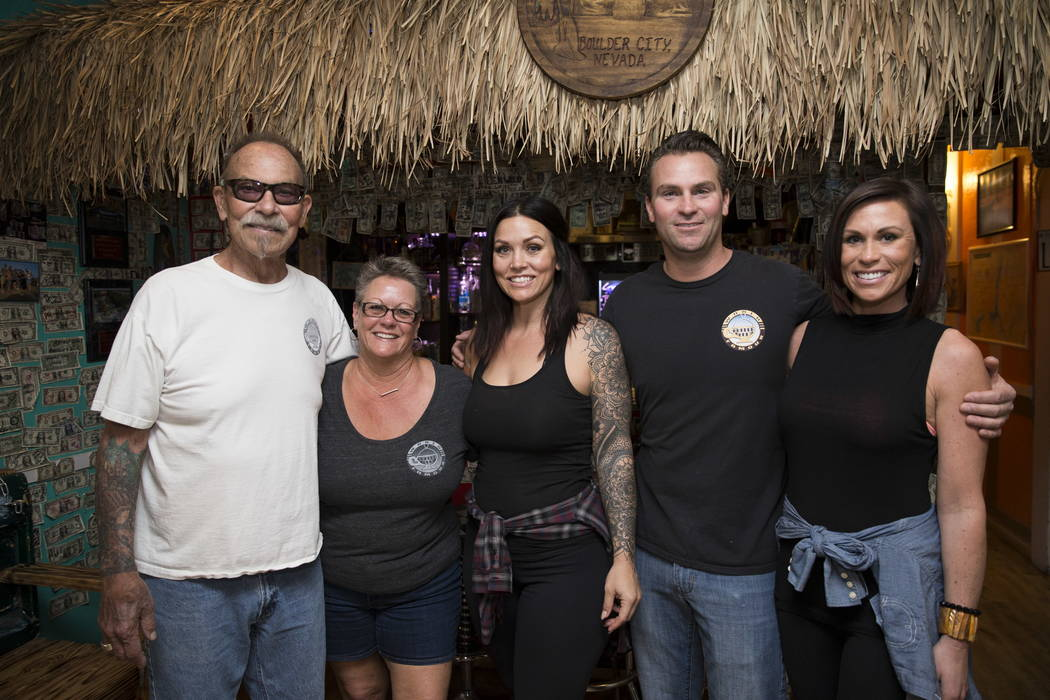 Al Stevens, from left, his wife Carri, owners of theCoffee Cup, with their daughter Lindsay, son Terry and his wife Kristin, at theCoffee Cup in Boulder City, Thursday, Feb. 8, 2018. L ...
