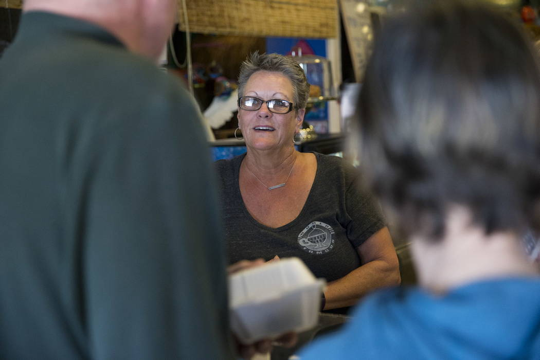 Carri Stevens, owner of theCoffee Cup in Boulder City, speaks with customers on Thursday, Feb. 8, 2018. Erik Verduzco Las Vegas Review-Journal @Erik_Verduzco
