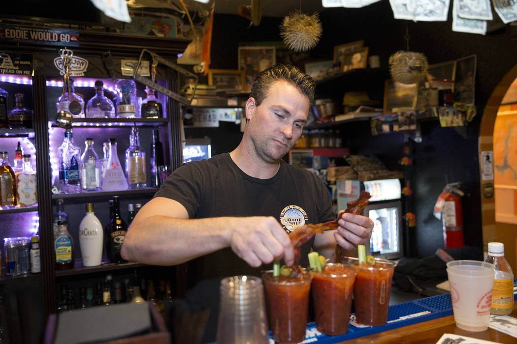 Terry Stevens makes bloody marys at the Coffee Cup in Boulder City, Thursday, Feb. 8, 2018. Terry is the son of the Coffee Cup owners Al and Carri Stevens. Erik Verduzco Las Vegas Review ...