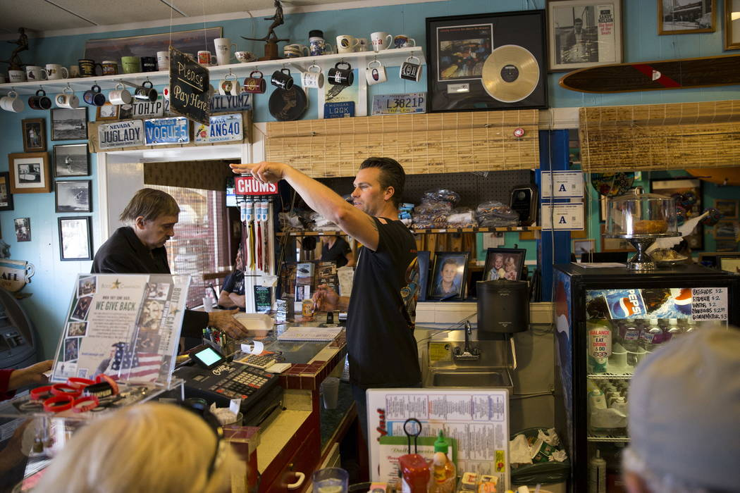 Terry Stevens greets customers to the Coffee Cup in Boulder City, Thursday, Feb. 8, 2018. Terry is the son of the Coffee Cup owners Al and Carri Stevens. Erik Verduzco Las Vegas Review-J ...