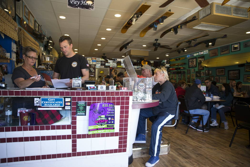 Carri Stevens, left, owner of theCoffee Cup, and her son Terry, at theCoffee Cup in Boulder City, Thursday, Feb. 8, 2018. Erik Verduzco Las Vegas Review-Journal @Erik_Verduzco