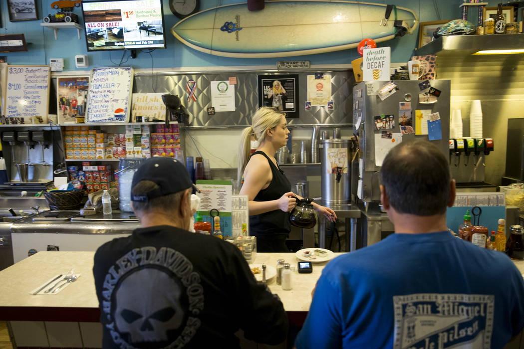 Jordan Lee after serving coffee to customers at theCoffee Cup in Boulder City, Thursday, Feb. 8, 2018. Erik Verduzco Las Vegas Review-Journal @Erik_Verduzco