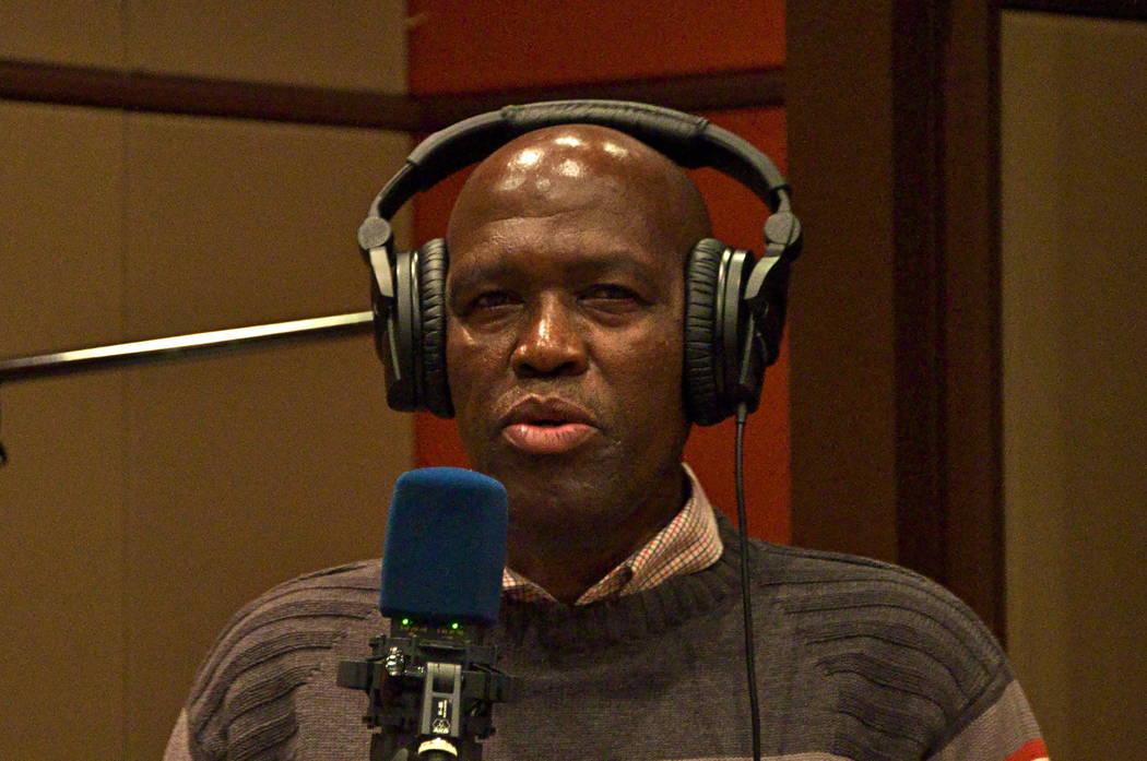 Albert Mazibuko, who's been a member of Ladysmith Black Mambazo since 1969, in the recording studio.