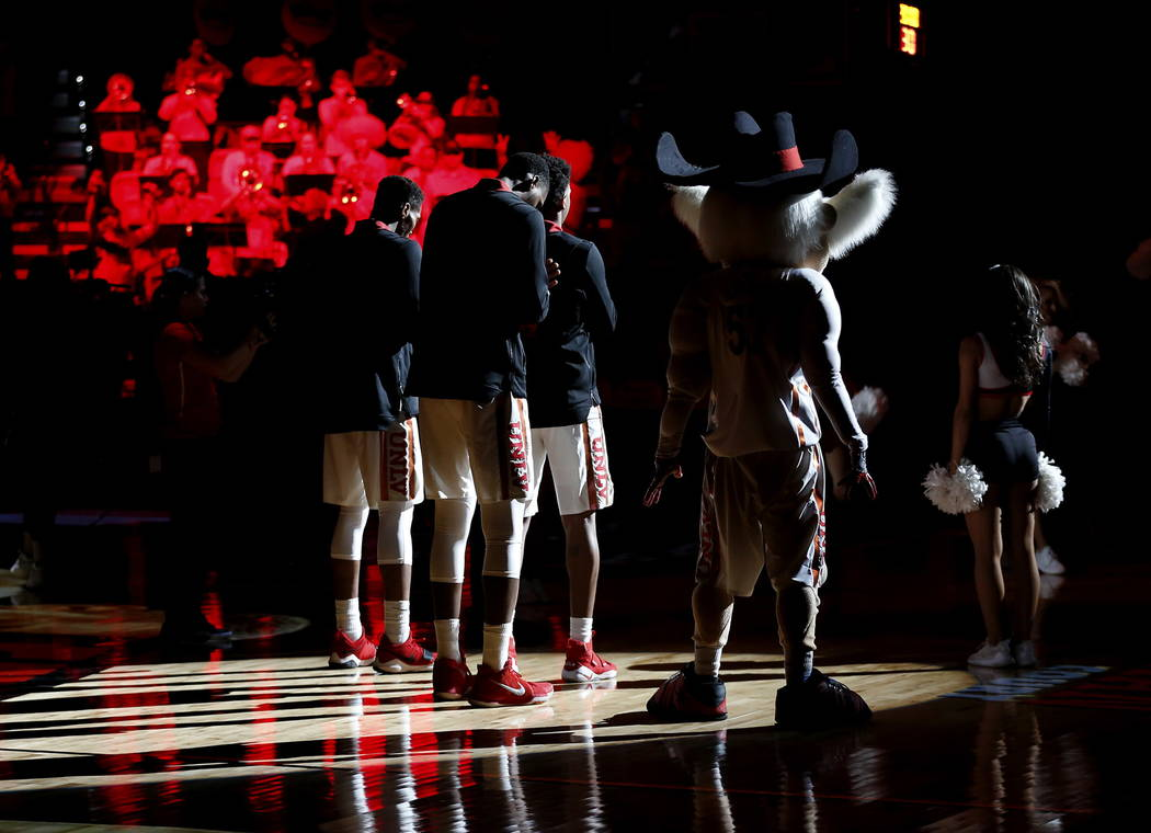 UNLV mascot Hey Reb! waits to performs before the start of a basketball game against the Wyoming Cowboys at the Thomas and Mack Center in Las Vegas on Saturday, Feb. 10, 2018. Andrea Cornejo Las V ...