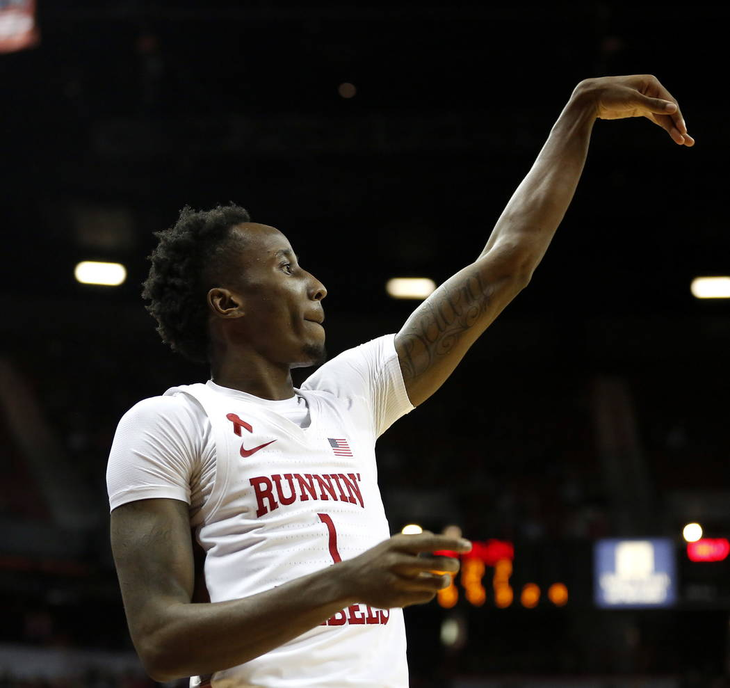 UNLV Rebels' Kris Clyburn (1) shoots the ball against the Wyoming Cowboys at the Thomas and Mack Center in Las Vegas on Saturday, Feb. 10, 2018. Andrea Cornejo Las Vegas Review-Journal @DreaCornejo