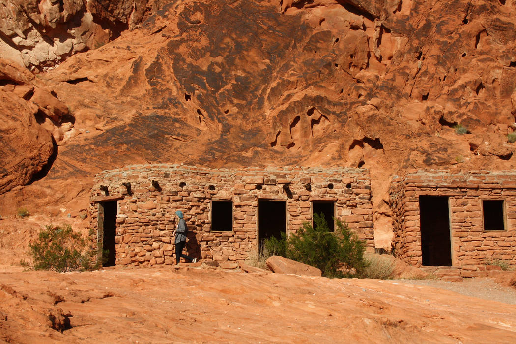 The Cabins, built in 1930s by the federal Civilian Conservation Corps, blend agreeably with the red sandstone landscape of Valley of Fire State Park. (Deborah Wall)