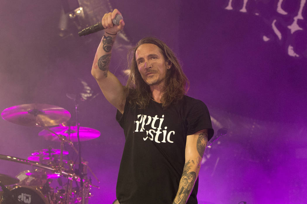 """Brandon Boyd of the band Incubus performs in concert during their """"8 Tour"""" at the BB&T Pavilion on Thursday, July 20, 2017, in Camden, N.J. (Photo by Owen Sweeney/Invision/AP)"""